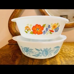Two Vintage Glasbake Casserole Dishes